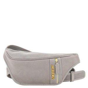 Jacquem Bag Grey Leather La Banana Logo Plaque Bag
